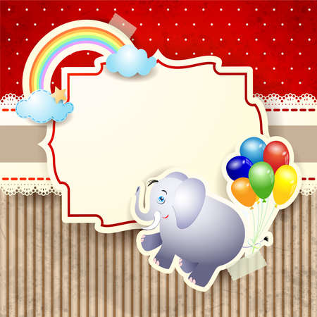 Cute elephant and label on paper background. Vector illustration eps10  イラスト・ベクター素材