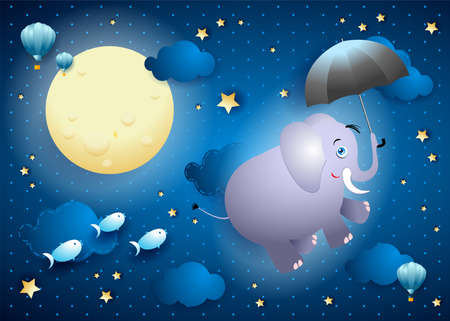 Cute flying elephant with umbrella on starry sky, vector illustration eps10