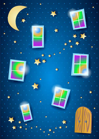 Night of dreams with windows and stars. Vector illustration