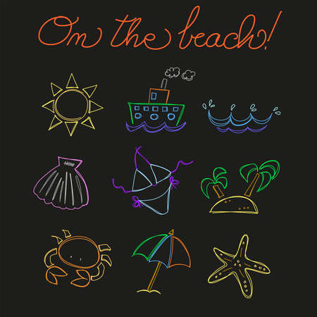 On the Beach, vector sketch icons. Vector illustration eps10  イラスト・ベクター素材