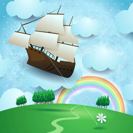 Flying vessel hanging at the flower on country landscape, vector illustration eps10