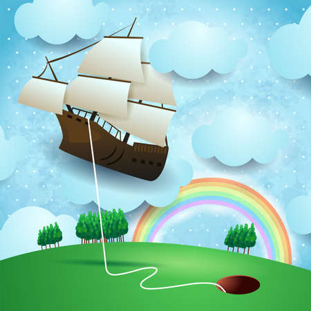 Flying vessel hanging at the hole on country landscape, vector illustration eps10  イラスト・ベクター素材