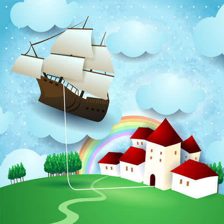 Flying vessel hanging at the home on country landscape, vector illustration eps10