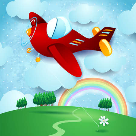 Red airplane hanging at the flower on country landscape, vector illustration eps10