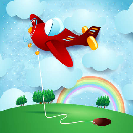 Red airplane hanging at the hole on country landscape, vector illustration eps10