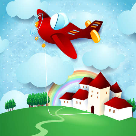 Red airplane hanging at the home on country landscape, vector illustration eps10