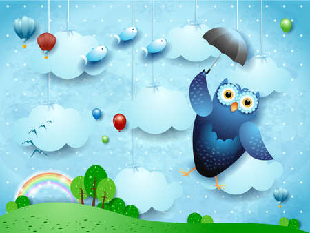 Fantasy landscape with funny flying owl and umbrella. Vector illustration eps10