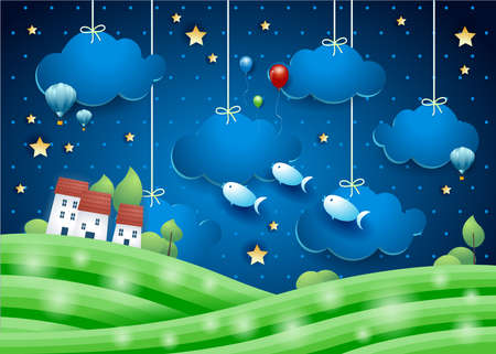 Fantasy landscape by night with flying fishes and village. Paper art. Vector illustration eps10  イラスト・ベクター素材