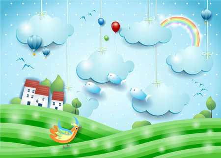 Fantasy landscape with flying fishes and village. Paper art. Vector illustration eps10