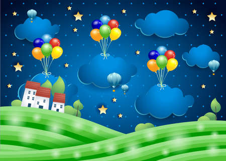 Fantasy landscape by night with hanging clouds and village. Paper art. Vector illustration eps10  イラスト・ベクター素材