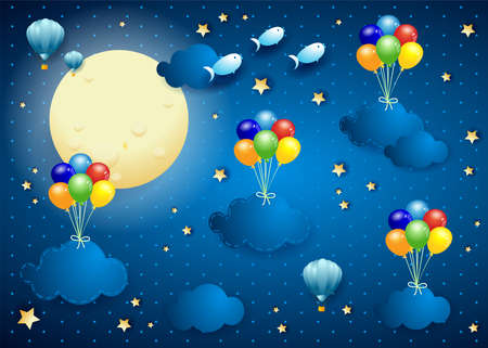 Starry sky with hanging balloons and clouds, vector illustration eps10  イラスト・ベクター素材