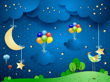 Night landscape with hanging balloons and clouds, vector illustration eps10  イラスト・ベクター素材