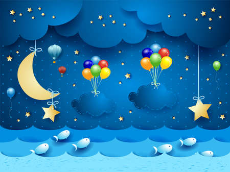 Surreal seascape by night with hanging balloons and clouds. Vector illustration eps10