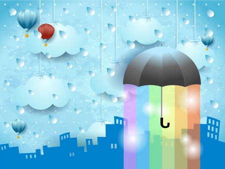 Fantasy landscape with skyline, umbrella, rain and rainbow colors. Vector illustration eps10  イラスト・ベクター素材