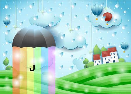 Fantasy landscape with umbrella, rain and rainbow colors. Vector illustration eps10  イラスト・ベクター素材