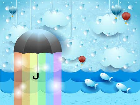 Fantasy seascape with umbrella, rain and rainbow colors. Vector illustration  イラスト・ベクター素材