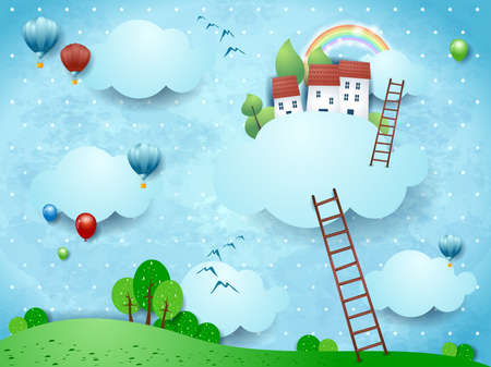 Fantasy landscape with stairways and village over the clouds. Vector illustration