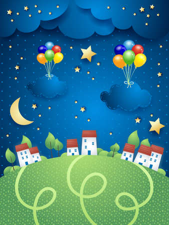 Night landscape with villages and hanging balloons and clouds, vector illustration