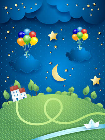 Night landscape with village, river and hanging balloons and clouds, vector illustration