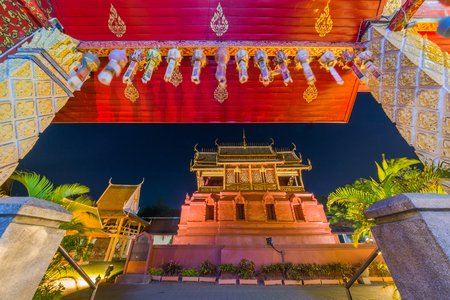 hariphunchai: Wat Phra That Hariphunchai in twilight time,lamphun,thailand. Stock Photo