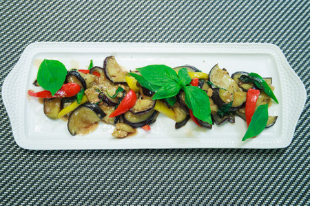 thai basil: Vegetarian food Thai Style Eggplant Stir-Fry with Bean paste and chillli, Thai basil.
