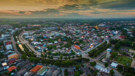 drones: Aerial view of lamphun city,north in thailand. Stock Photo