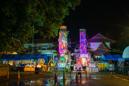 build in: LAMPHUN THAILAND- SEPTEMBER 14, 2016 : Salakyom Lanna tradition at Wat Phra That Hariphunchai on September 14, 2016 in Lamphun, Thailand.