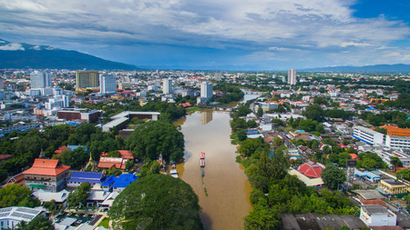 river view: Aerial view Ping river in Chiang Mai City, High angle view Planning Thailand.