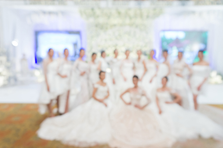 Fashion show Wedding fair out of focus,blur background.