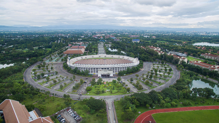 arial view: Arial view Grandstand in 700th Anniversary Sport Stadium at Chiang Mai, Thailand.
