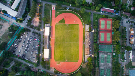 LAMPHUN,THAILAND JUL 30,2017: Arial view Sport Stadium at lamphun, Thailand.