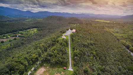 Aerial view Doi-kad Temple of lamphun city,north in thailand. Stock Photo