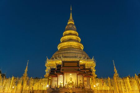 Wat Phra That Hariphunchai with Twilight time in Lamphun Province, Thailand.