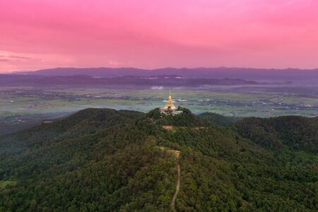 Aerial view of Big pagoda on mountaintemple. Tourist attraction landmark in Chiang Rai province of Thailand Stock Photo