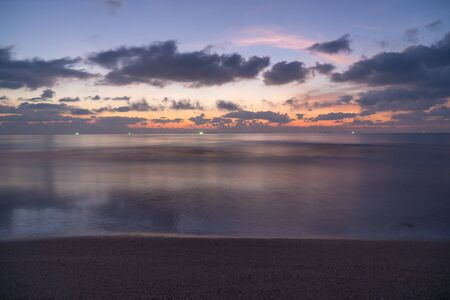 The beautiful landscape  on sea with sunset blackground.