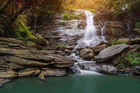 Tad Mork  waterfalls  north in thailand,Chiangmai,Thailand. Stock Photo