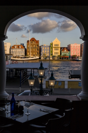 antilles: Restaurant with view on Panda, Willemstad, Curacao, Netherlands Antilles Stock Photo