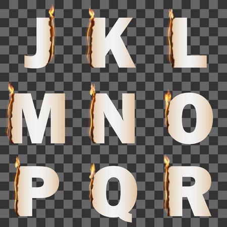 flame alphabet: Alphabet with transparent fire flame. Set 2 JR Illustration