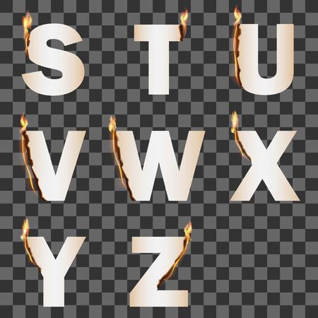 Alphabet with transparent fire flame. Set 3 SZ