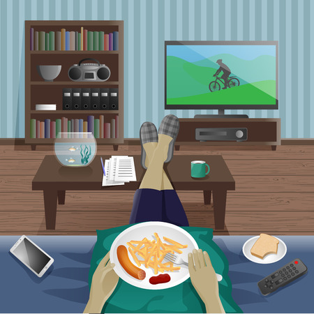 supper: Man take supper at home and watching TV Illustration