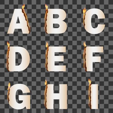 flame alphabet: Alphabet with transparent fire flame. Set 1 AI