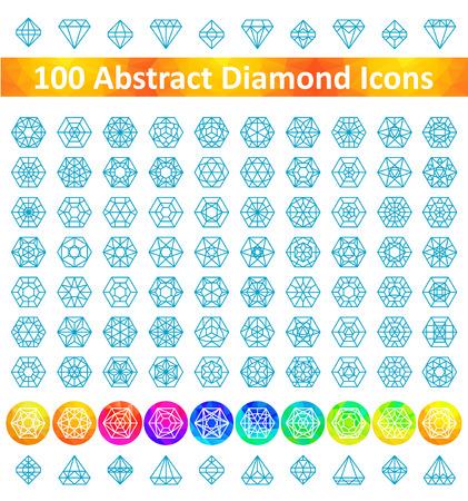 Set 100 Abstract Diamond Icons Illustration