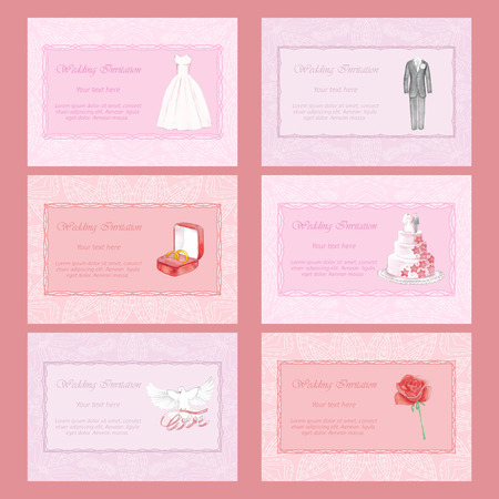 marriageable: Wedding Invitations Set with hand drawn watercolor elements Illustration