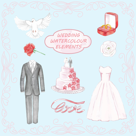 Wedding hand drawn watercolor elements Vectores