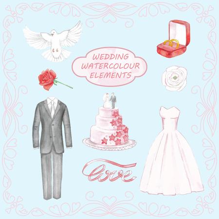 Wedding hand drawn watercolor elements Stock Illustratie