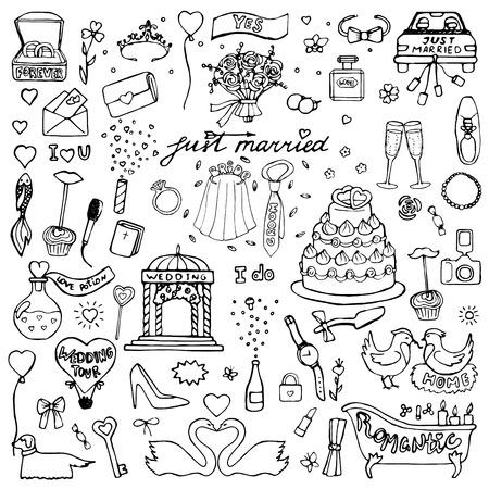 getrokken hand bruiloft doodle