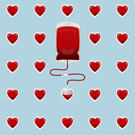 vasos sanguineos: La bolsa de sangre con corazones