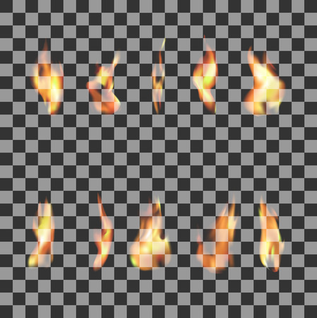 Set of 10 transparent fire flames Stock Illustratie