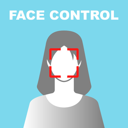 Face Control Icon with Woman Illustration