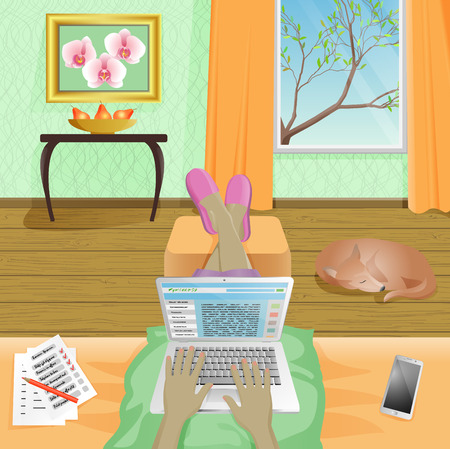work from home: Woman Freelancer work at home on laptop Illustration